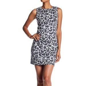 Vince Camuto Gray Leopard Print Mini Shift Dress